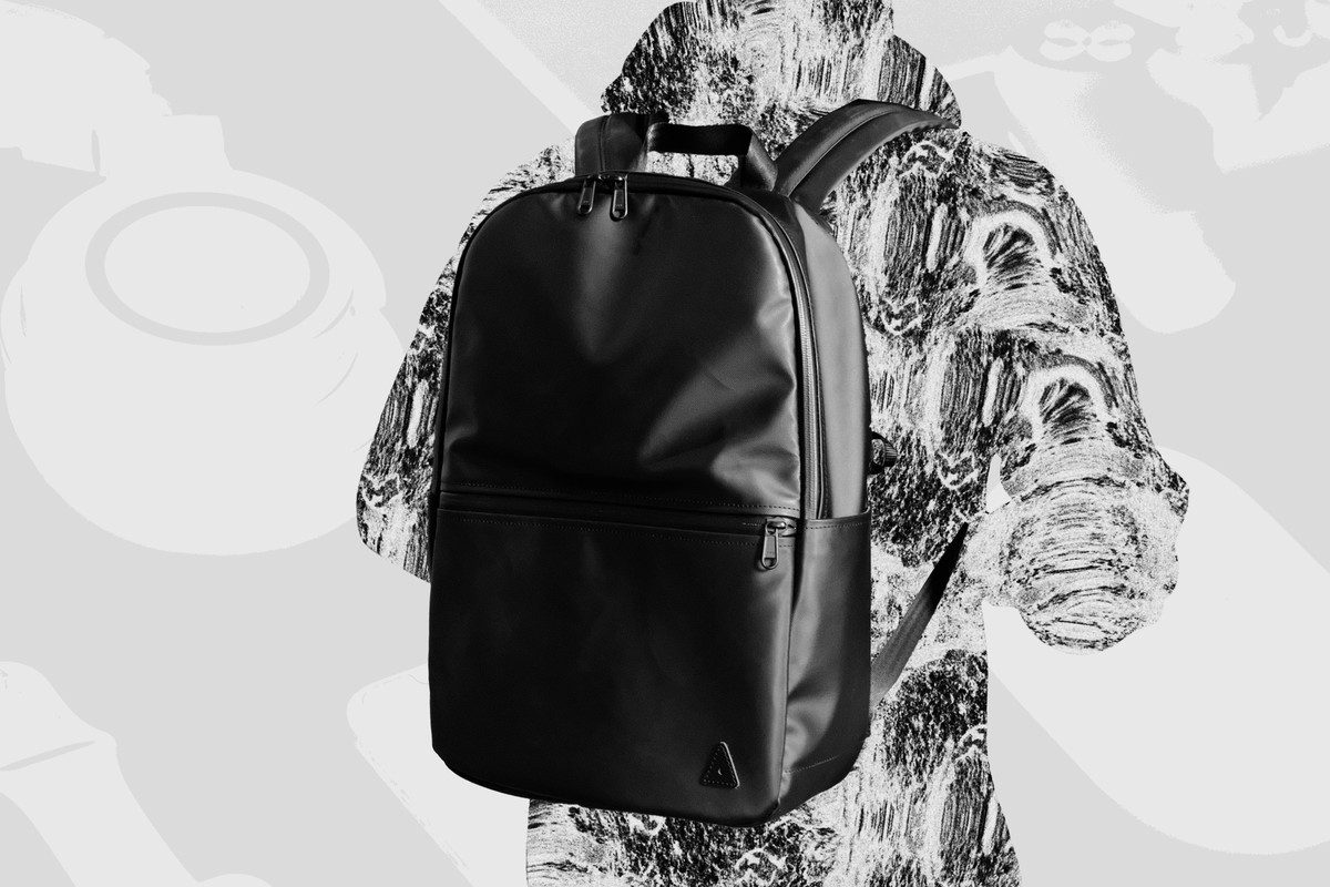 Alex Medina's texturized silhouette is shown wearing his backpack.