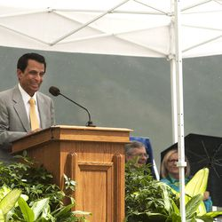 King Husein,  volunteer fundraising committee chairman, speaks during the groundbreaking ceremony for a new engineering building in Provo on Monday, May 9, 2016. The new building was entirely funded by donors.