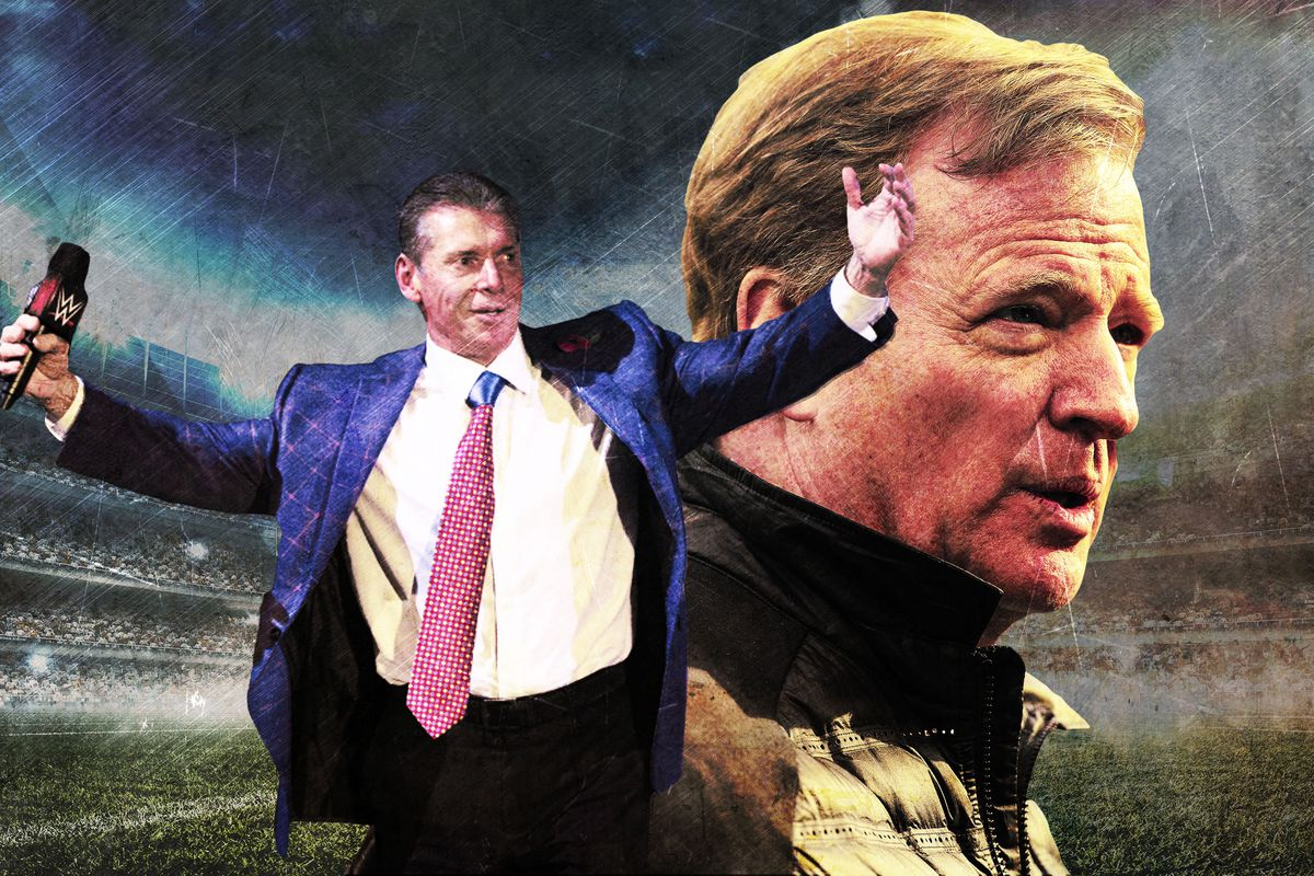 A photo illustration of Vince McMahon and Roger Goodell
