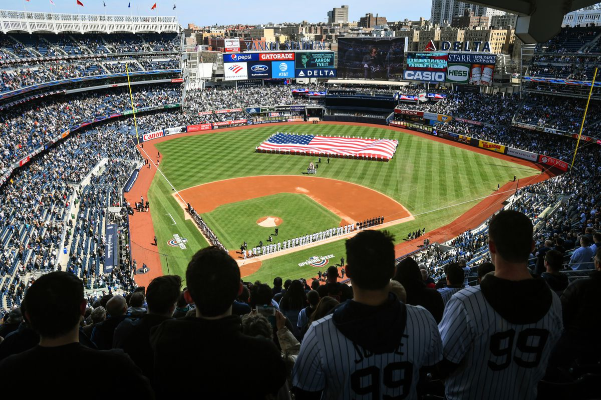 Overview of the field at Yankee Stadium from the stands behind home plate