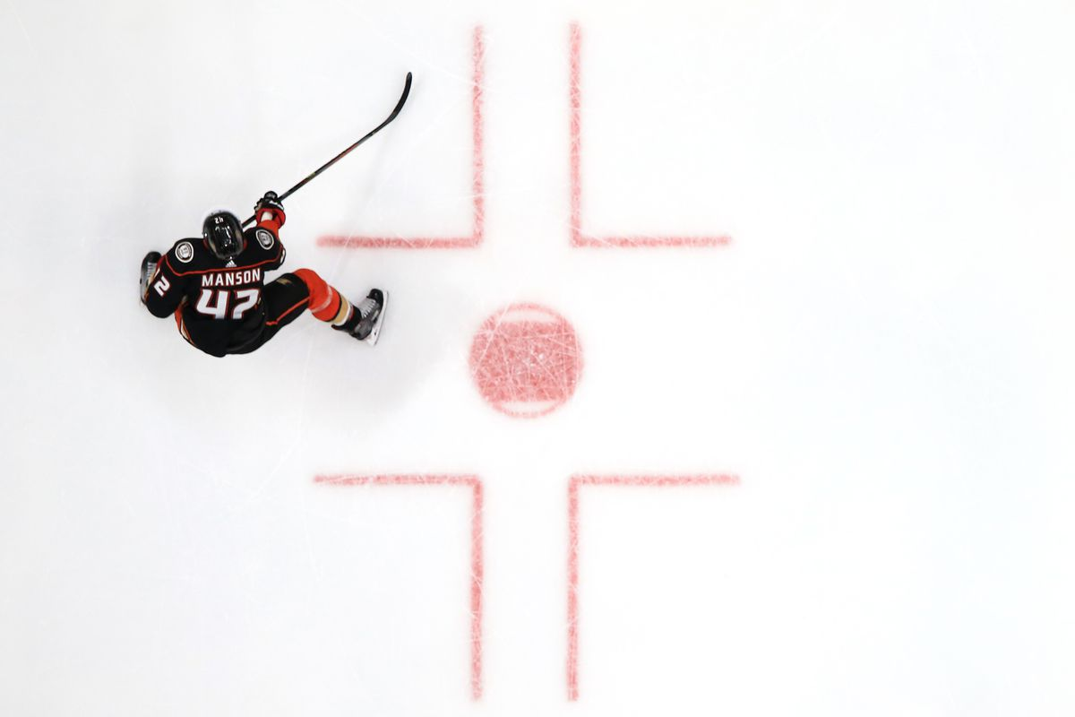 Josh Manson #42 of the Anaheim Ducks skates to a puck during the second period of a game against the St. Louis Blues at Honda Center on March 11, 2020 in Anaheim, California.