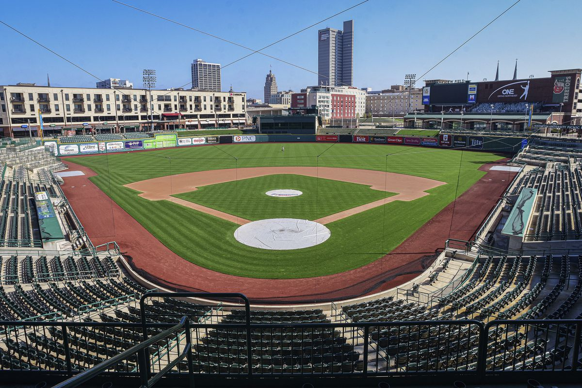 Parkview Field, a minor league baseball stadium in downtown Fort Wayne, Ind., sits empty.