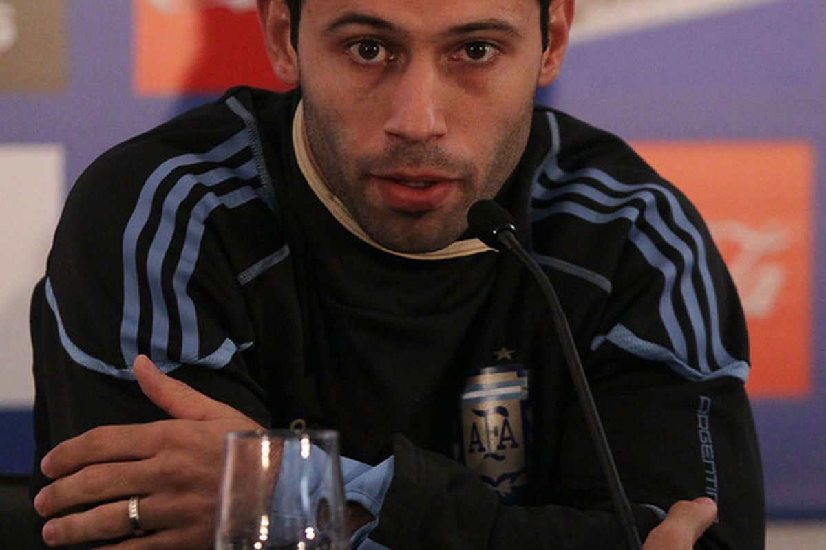 PRETORIA, SOUTH AFRICA - JUNE 01:  Argentina's captain Javier Mascherano speaks to the media on June 1, 2010 in Pretoria, South Africa.  (Photo by Chris McGrath/Getty Images)