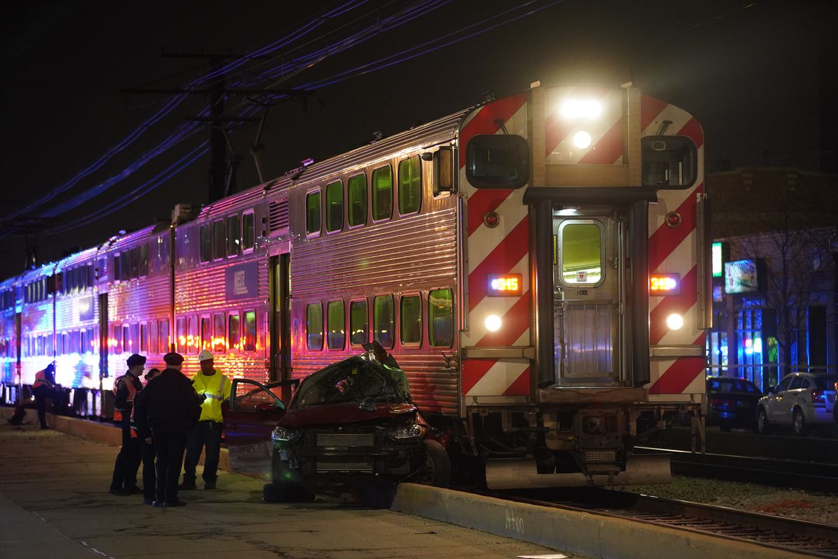 A Metra train hit a car March 10, 2020, in the 7100 block of South Merrill Avenue.