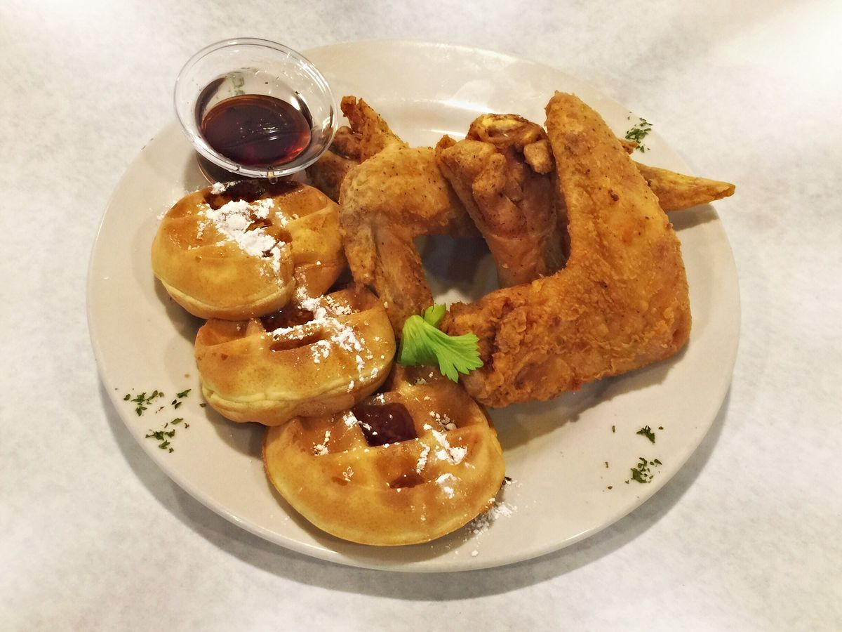 Mini-waffles and chicken wings