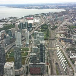 View from the top of the CN Tower, looking west