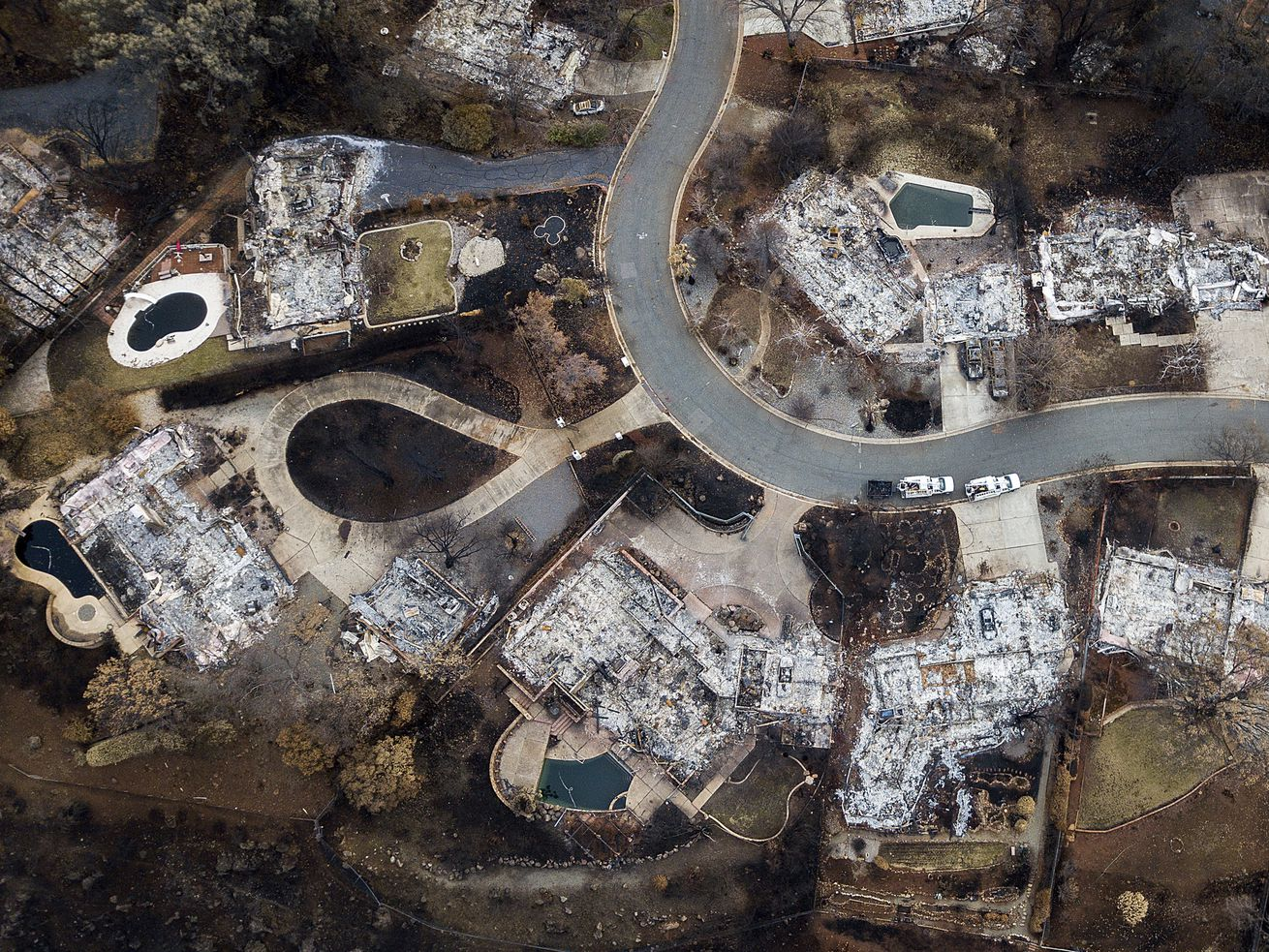 Homes leveled by the Camp Fire line Valley Ridge Drive in Paradise, California.