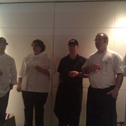 The five competing chefs line up for the results.