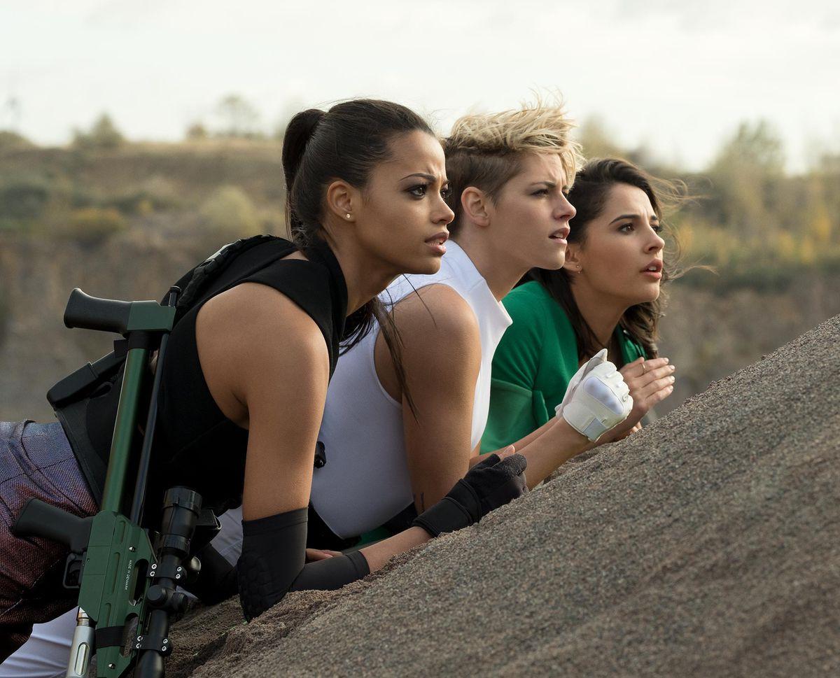 The new Angels: Ella Balinska, Kristen Stewart, and Naomi Scott.