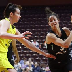 The New York Liberty take on the Dallas Wings in a WNBA preseason game at Mohegan Sun Arena in Uncasville, CT on May 7, 2018.