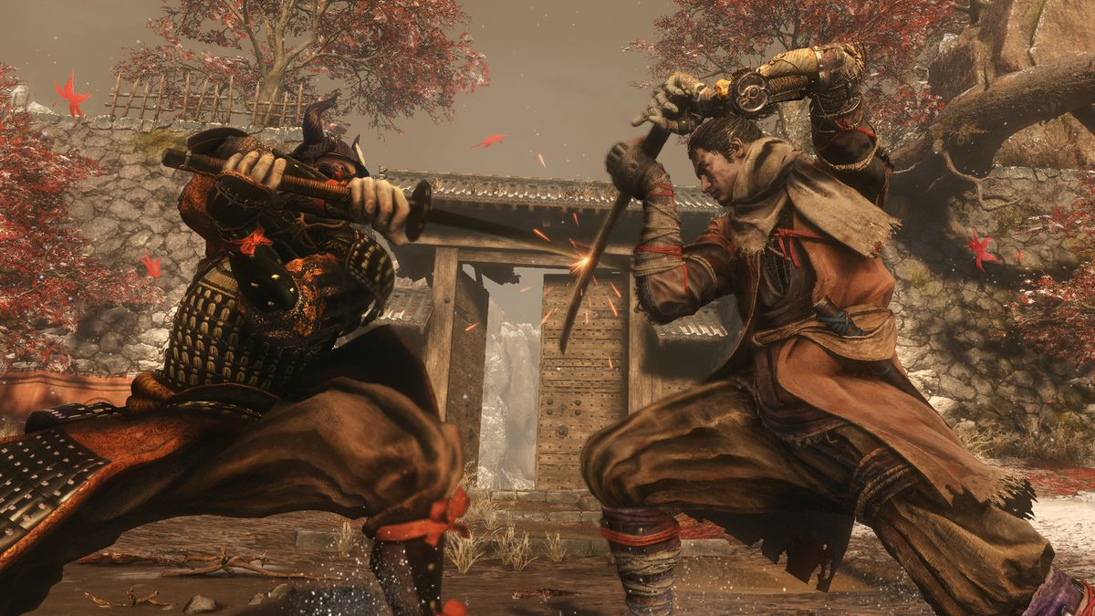 Sekiro clashes with a samurai in a screenshot from Sekiro: Shadows Die Twice