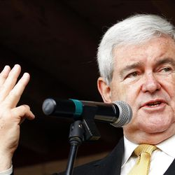 Republican presidential candidate and former House Speaker Newt Gingrich campaigns outside Mama Lou's restaurant in Robertsdale, Ala., Saturday March 10, 2012.