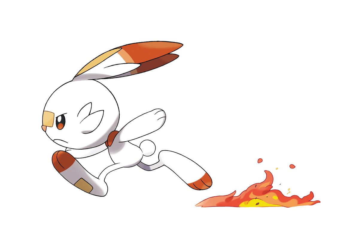 A Scorbunny runs, leaving a trail of fire behind it