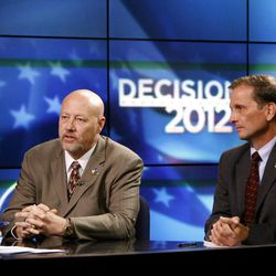 Utah's 2nd District congressional candidates Jay Seegmiller, left,  and Chris Stewart hold a debate at the KSL studio in Salt Lake City on Thursday, Sept. 13, 2012.