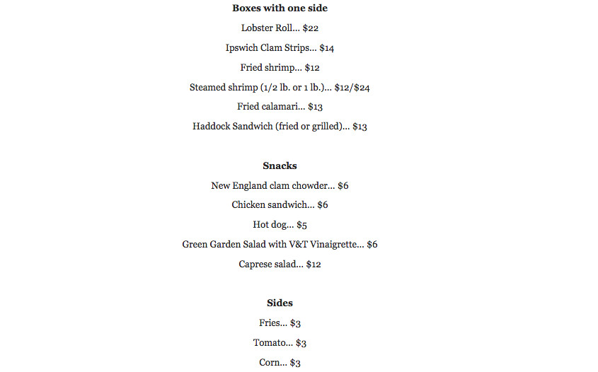 Vine and Tap lobster shack menu