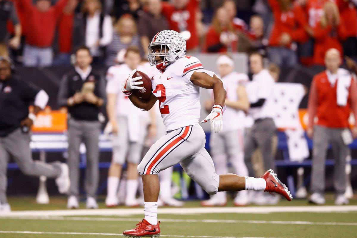 Ohio State Buckeyes RB J.K. Dobbins runs against the Wisconsin Badgers during the Big Ten Championship, Dec. 2, 2017.