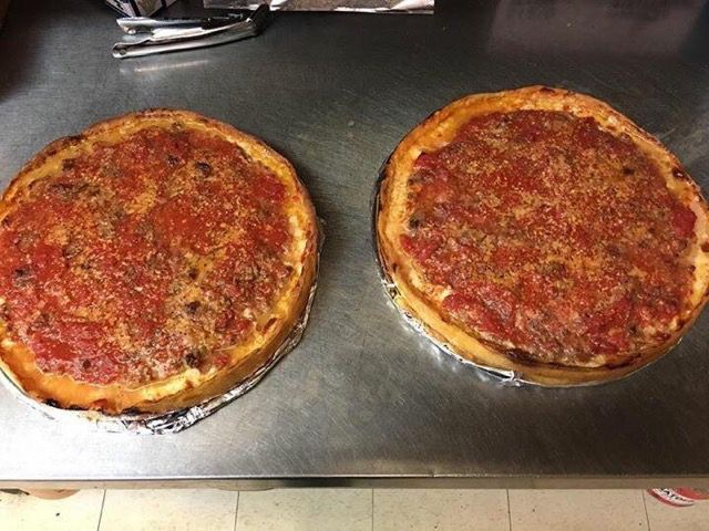 Two glorious Chicago deep-dish pizzas