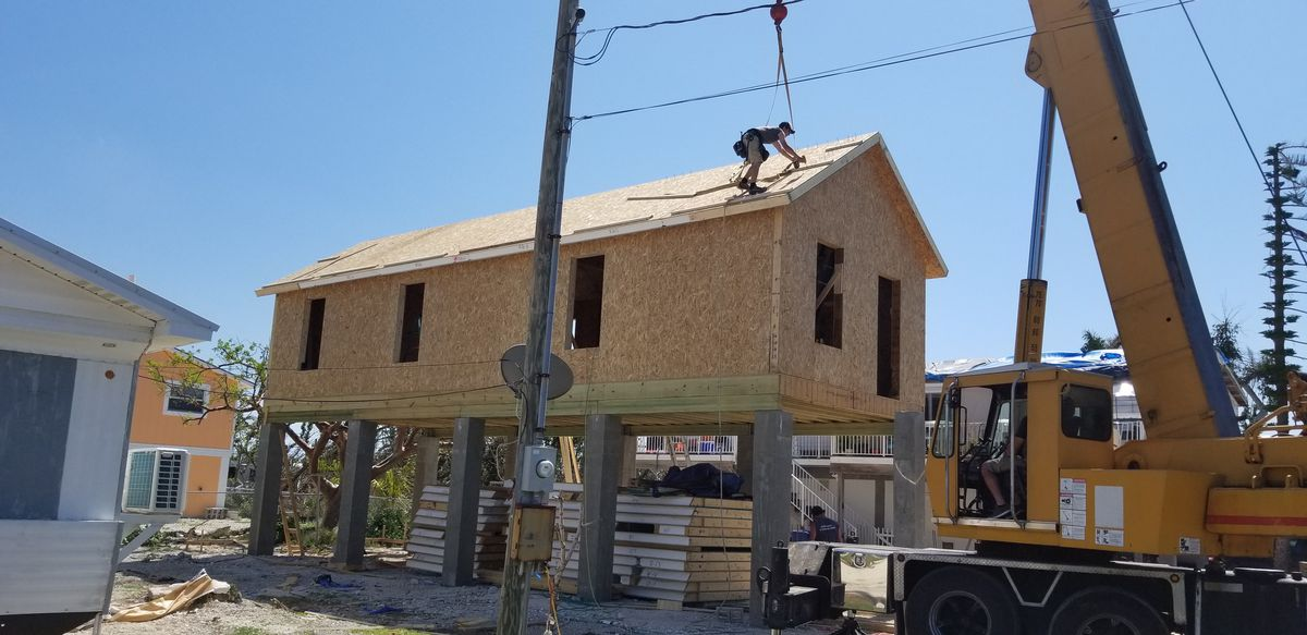 A picture of the Keys Cottages under construction on Big Pine Key