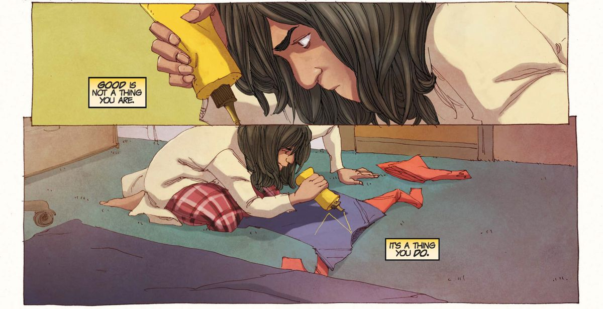 Kamala Khan uses craft supplies to turn her burkini into a superhero costume in Ms. Marvel #5 (2014).