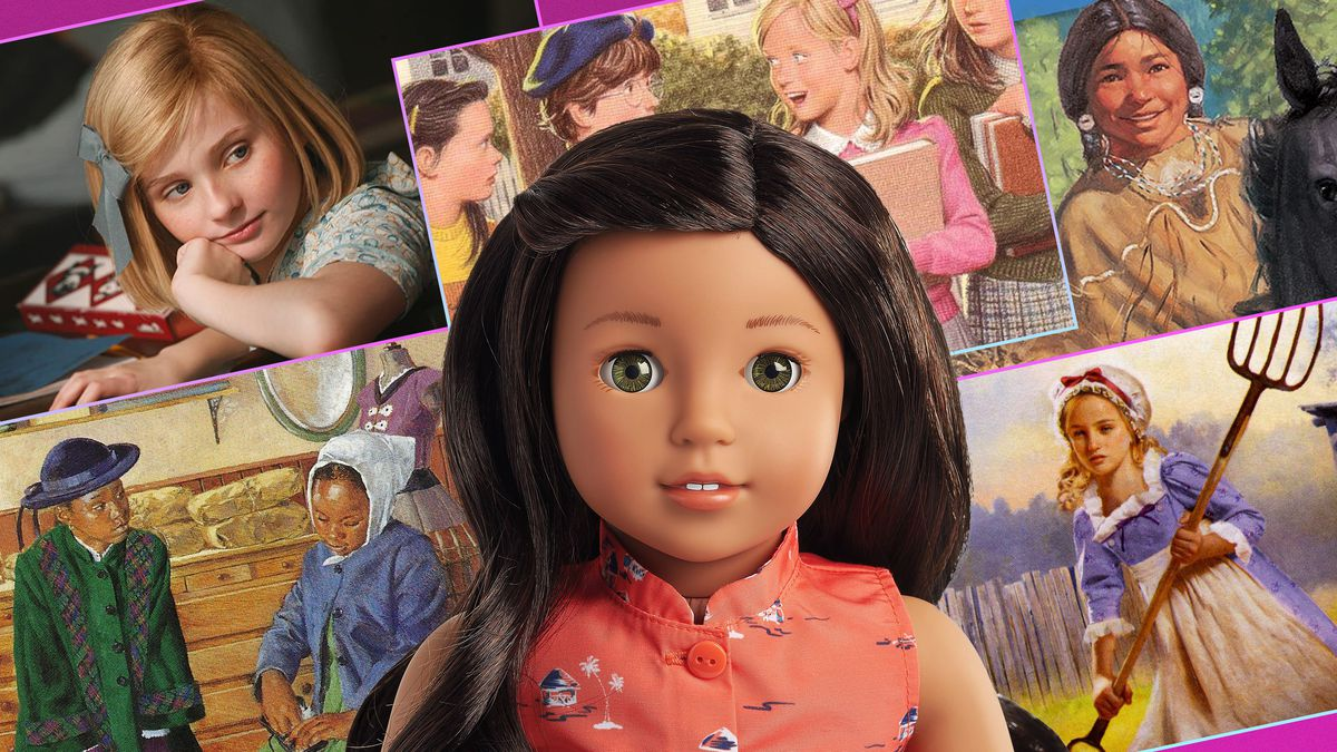 Graphic featuring artwork and images from 'American Girl' books, films and dolls