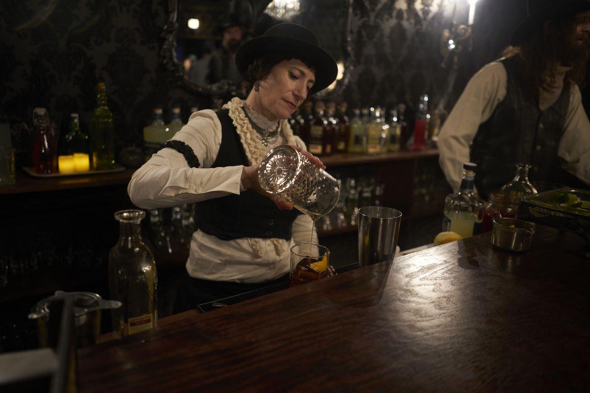 Mixing drinks at the Mariposa Saloon at Westworld
