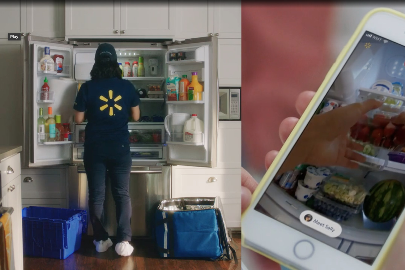 <em>A Walmart InHome associate delivering groceries as a customer watches the body cam remotely.</em>