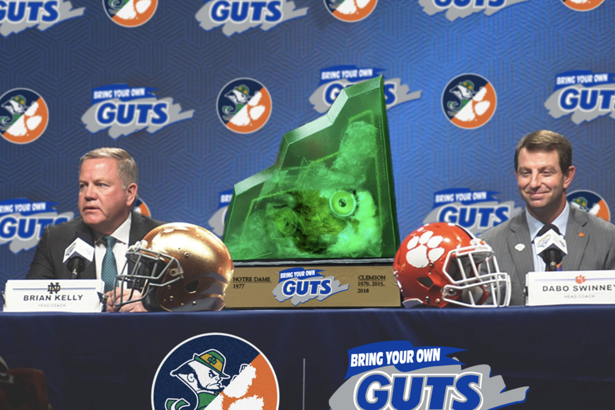 notre dame football rivalry trophy with clemson