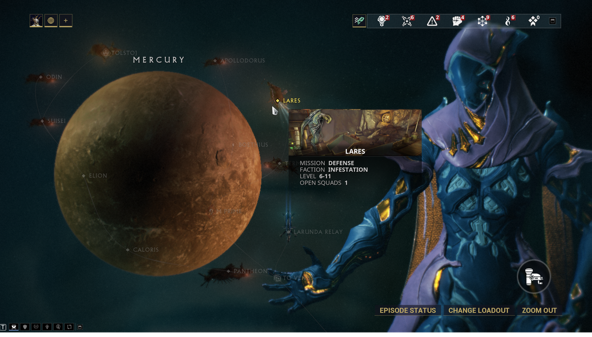 Warframe - a player looks at their star cart progression