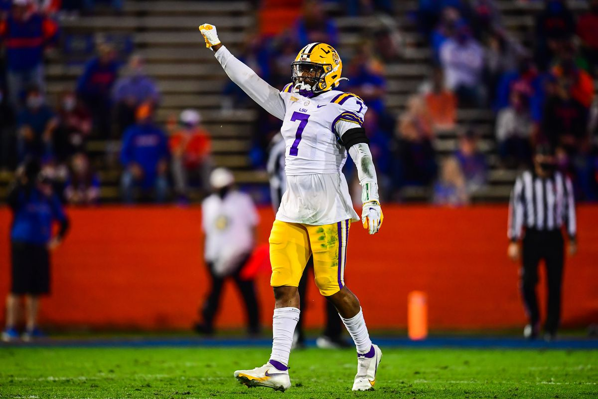 Jacoby Stevens of the LSU Tigers against the Florida Gators at Ben Hill Griffin Stadium on December 12, 2020 in Gainesville, Florida.