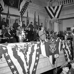 Gov. J. Bracken Lee gives his second inaugural address at the State Capitol, Jan. 5, 1953.