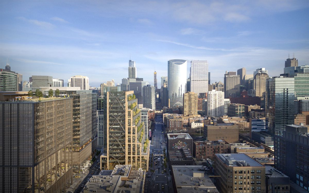 An aerial rendering of a stepped brick, glass, and metal office development standing amidst other tall buildings.