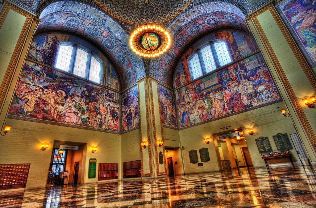 Murals in the LA Public Library