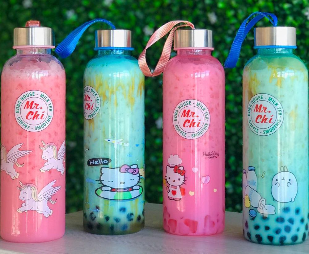 Collectible and reusable bottles at California's Mr. Chi Boba & Tea, expanding to the Southern Highlands Plaza.