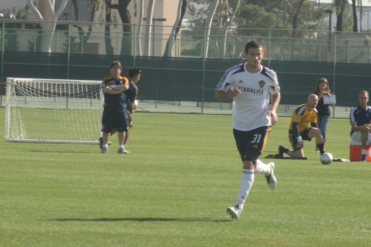Tommy Meyer in action for the LA Galaxy in Tuesday's preseason game against the Montreal Impact.  Photo credit: LAGConfidential