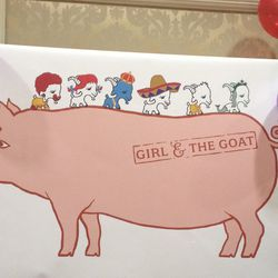 Girl & The Goat cute cartoon fast-food sign