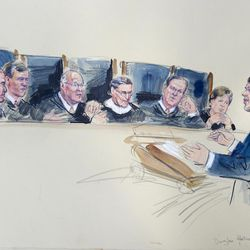 This artist rendering shows Washington attorney Douglas Hallward-Driemeier arguing that states must recognize same-sex marriages performed elsewhere, Tuesday, April 28, 2015,  during the Supreme Court hearing on same-sex marriage. Justices, from left are, Antonin Scalia, Chief Justice John Roberts, Anthony Kennedy, Ruth Bader Ginsburg, Samuel Alito Jr. and Elena Kagan.