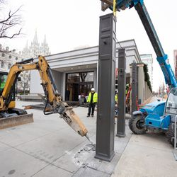 Construction work is underway on Temple Square as the Salt Lake Temple is decommissioned.
