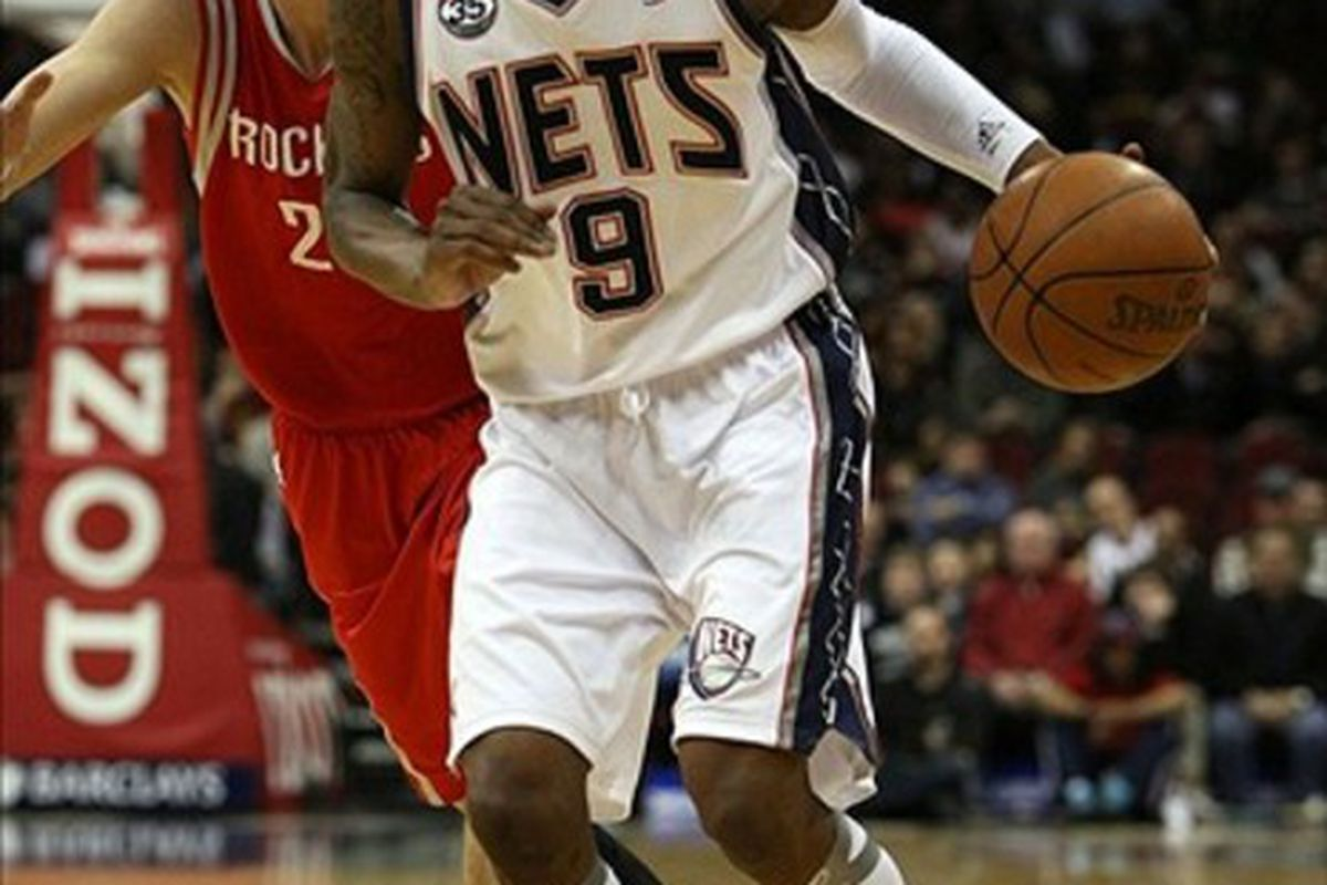 Mar 10 2012; Newark, New Jersey, USA; New Jersey Nets guard MarShon Brooks (9) drives to the basket past Houston Rockets forward Chandler Parsons (25) during the first half at the Prudential Center.  Mandatory Credit: Alan Maglaque-US PRESSWIRE