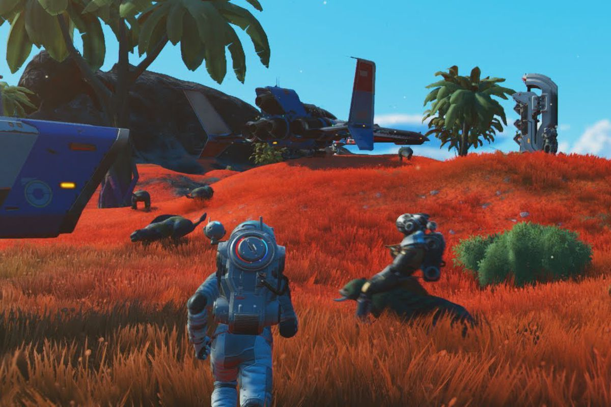 A space adventure runs through red grassy fields approaching a spaceship in a screenshot from No Man's Sky.
