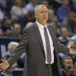 Brigham Young Cougars head coach Dave Rose looks toward the court during BYU's 75-73 overtime win against the San Francisco Dons at the Marriott Center in Provo on Saturday, Feb. 10, 2018.