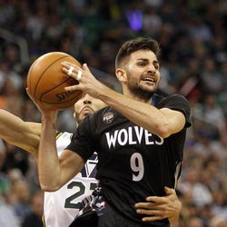 Minnesota Timberwolves guard Ricky Rubio (9) attempts to pass the ball in the second half of an NBA regular season game against the Utah Jazz at the Vivint Arena in Salt Lake City, Friday, April 1, 2016.