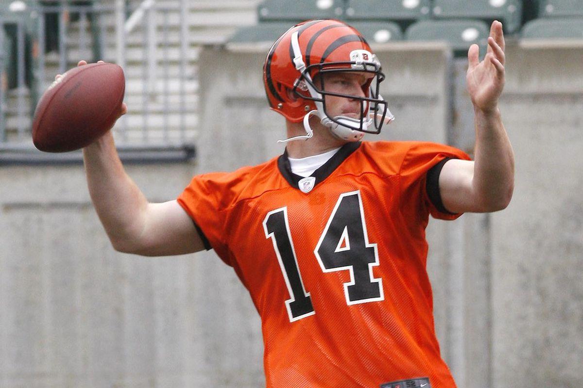 May 22, 2012; Cincinnati, OH USA; Cincinnati Bengals quarterback Andy Dalton (14) throws a pass during organized team activities at Paul Brown Stadium. Mandatory Credit: David Kohl-US PRESSWIRE