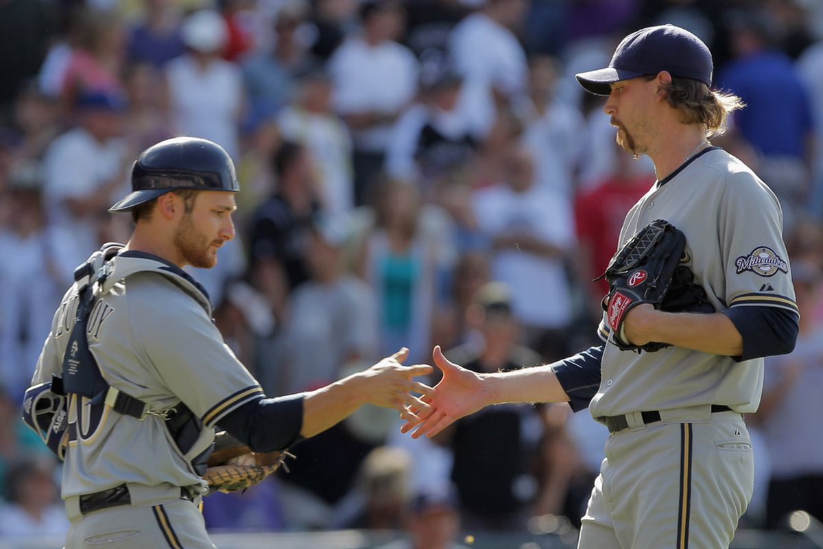 Here's John Axford on July 17, 2011 celebrating career save #50. There's a relatively good chance he'll record save #100 this season.