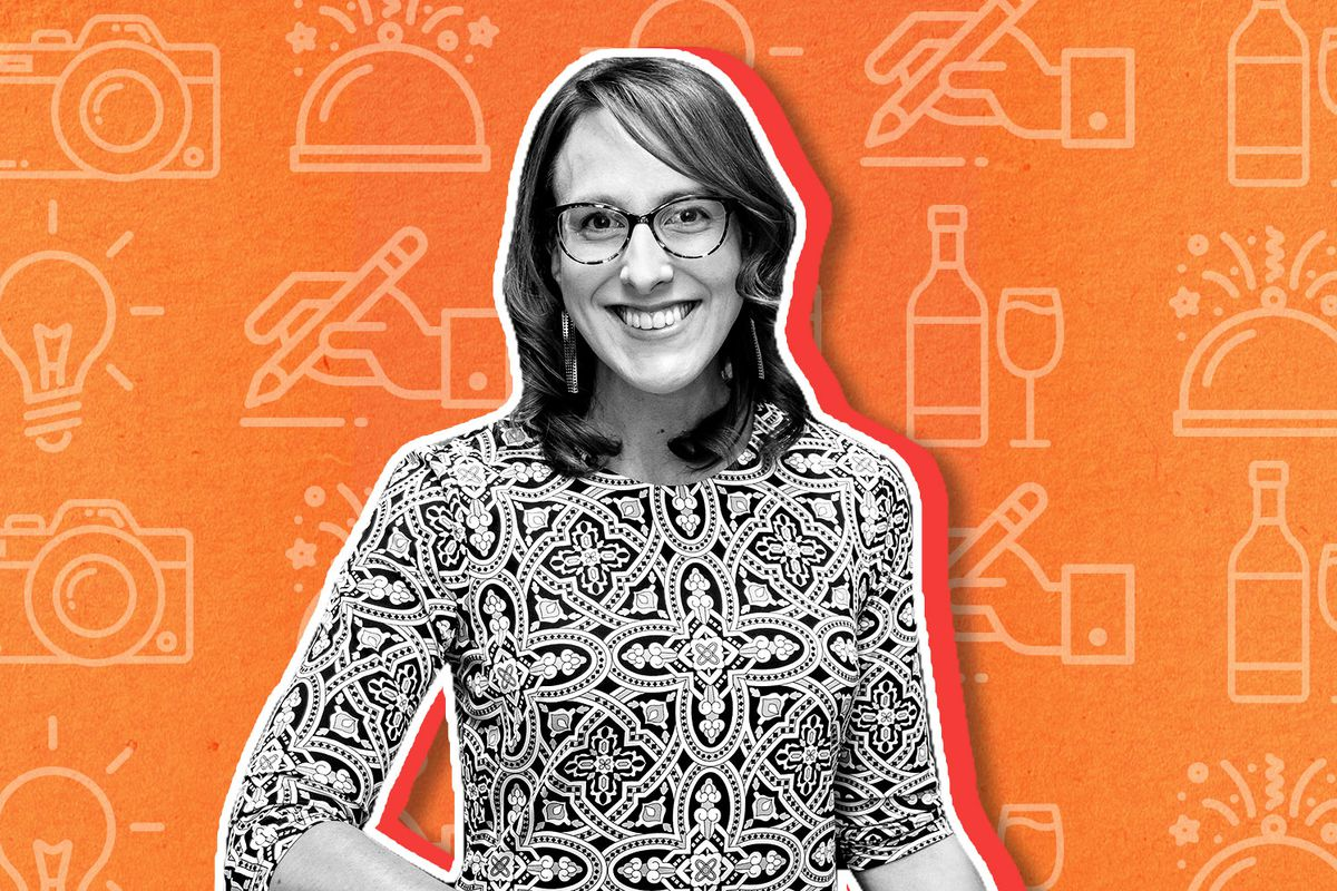 A black and white cutout of a brunette woman with shoulder length straight hair, glasses, and a printed shirt on an orange background.