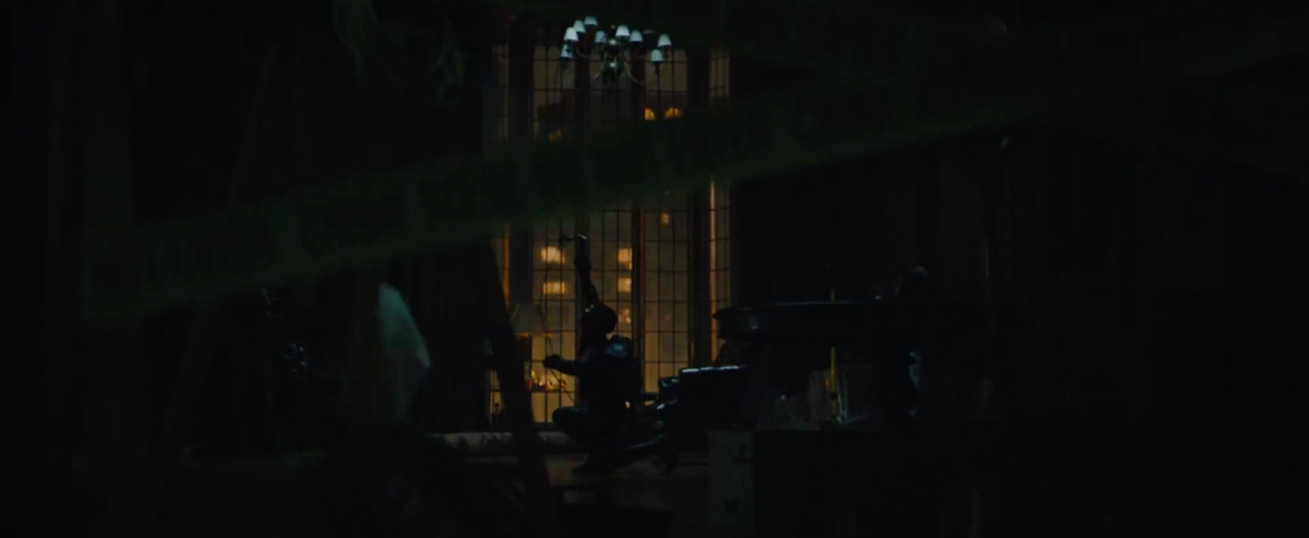 selina kyle rapels into a house in The Batman