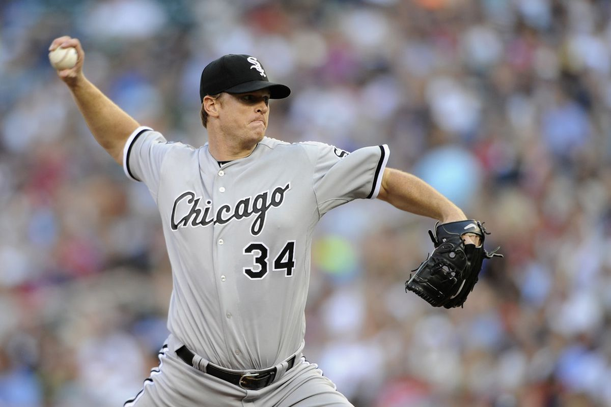 MINNEAPOLIS, MN - JUNE 26: Gavin Floyd #34 of the Chicago White Sox delivers a pitch against the Minnesota Twins during the second inning on June 26, 2012 at Target Field in Minneapolis, Minnesota. (Photo by Hannah Foslien/Getty Images)
