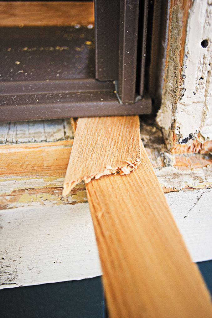 Wooden Shim Under Window Sill