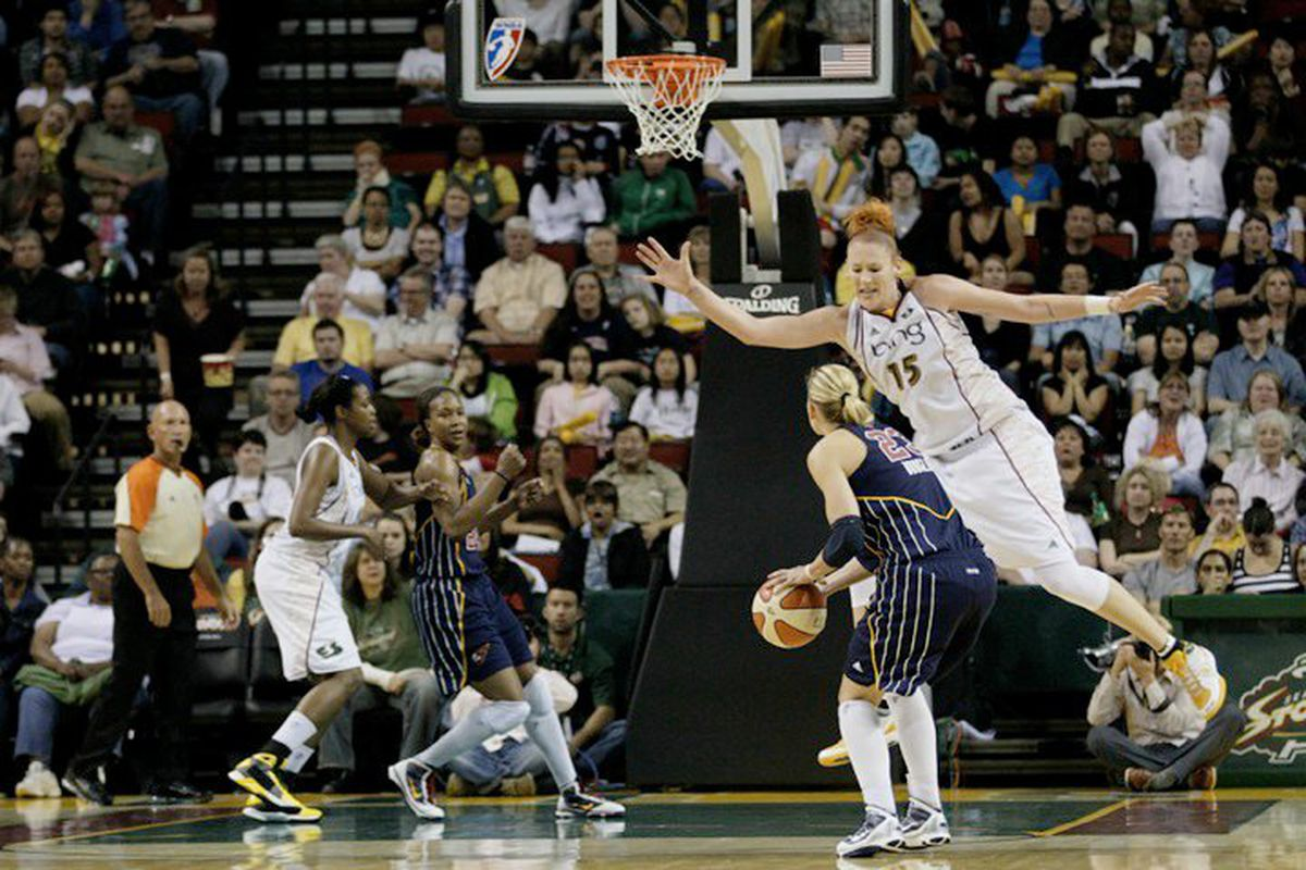 """Yes -- that is the Seattle Storm's 6'5"""" center flying out to guard a wing player spotting up for a jumper. That's unbelievable value. Photo by <a href=""""http://www.kailasimages.com"""" target=""""new"""">Kailas Images</a>."""