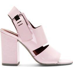 """<b>Alexander Wang</b> sandals, <a href=""""https://www.ssense.com/women/product/alexander_wang/pink-patent-leather-sara-heeled-sandals/98409"""">$179</a>"""