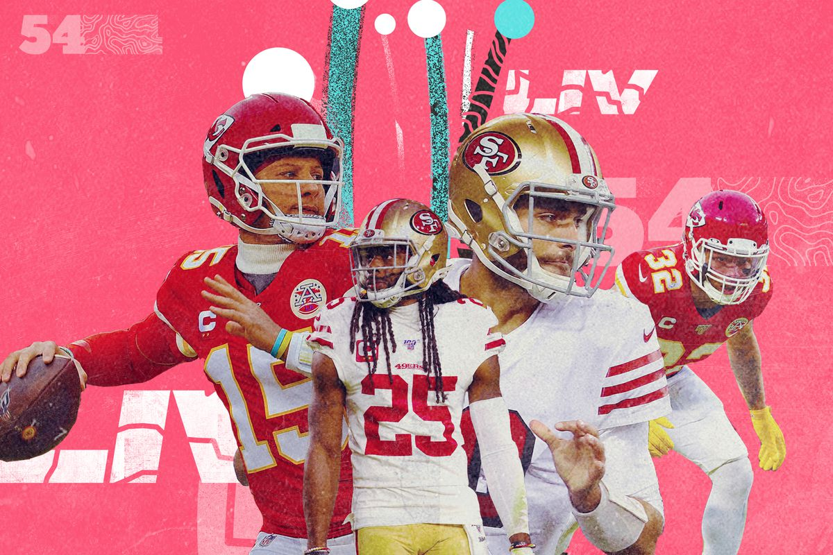 A Super Bowl 54 collage featuring 49ers (Richard Sherman, Jimmy Garoppolo) and Chiefs (Patrick Mahomes, Tyrann Mathieu) players